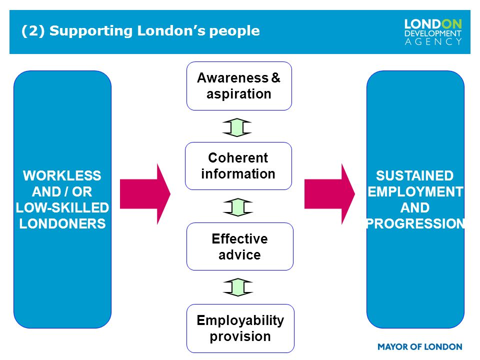 10 (2) Supporting Londons people Effective advice Employability provision Awareness & aspiration Coherent information WORKLESS AND / OR LOW-SKILLED LONDONERS SUSTAINED EMPLOYMENT AND PROGRESSION