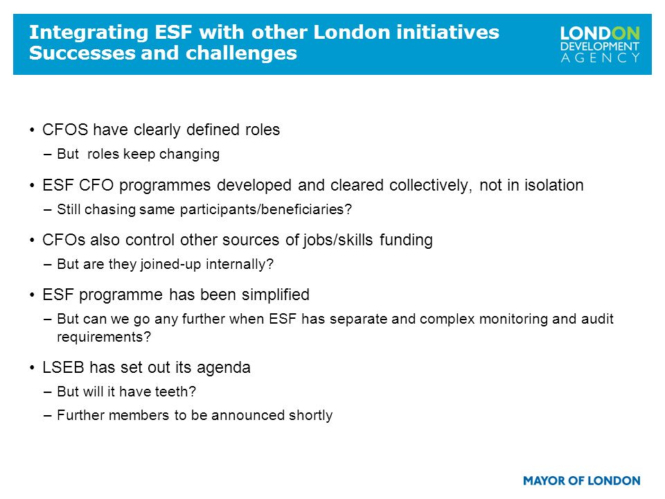 18 Integrating ESF with other London initiatives Successes and challenges CFOS have clearly defined roles –But roles keep changing ESF CFO programmes developed and cleared collectively, not in isolation –Still chasing same participants/beneficiaries.