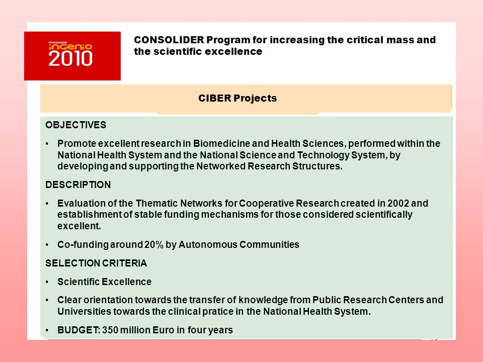 CONSOLIDER Program for increasing the critical mass and the scientific excellence CIBER Projects OBJECTIVES Promote excellent research in Biomedicine