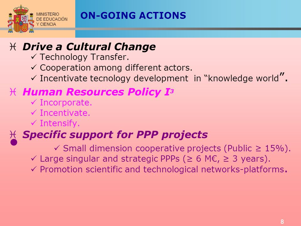 MINISTERIO DE EDUCACIÓN Y CIENCIA 8 ON-GOING ACTIONS Drive a Cultural Change Technology Transfer. Cooperation among different actors. Incentivate tecn