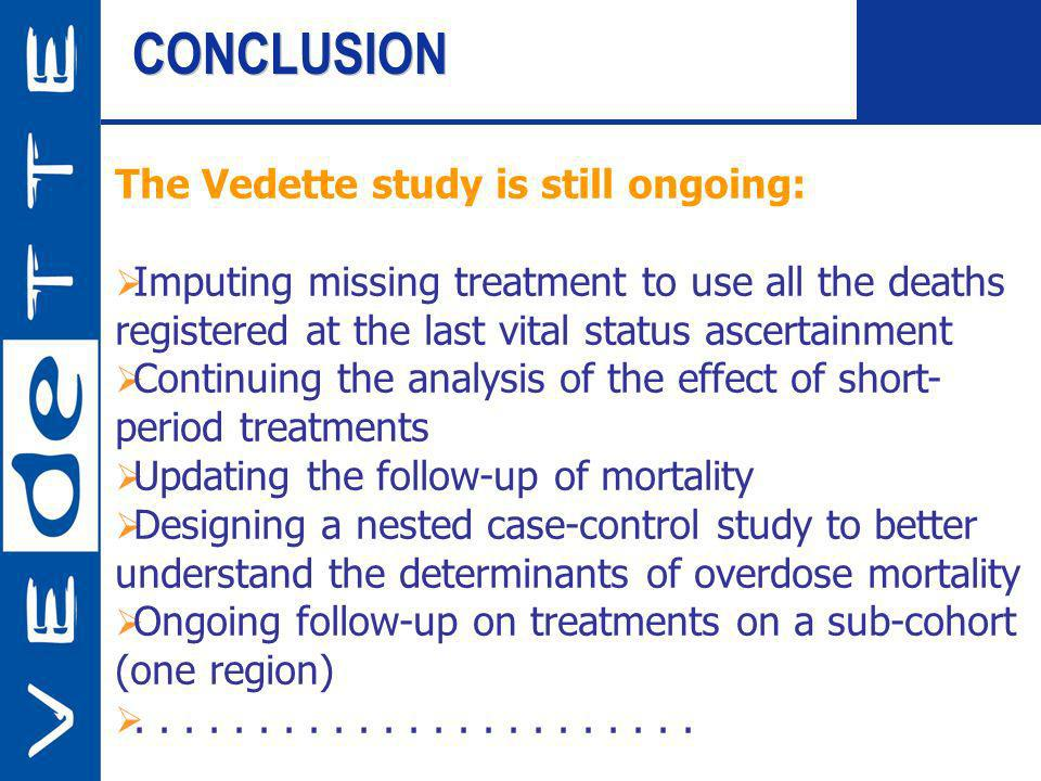 CONCLUSION The Vedette study is still ongoing: Imputing missing treatment to use all the deaths registered at the last vital status ascertainment Cont