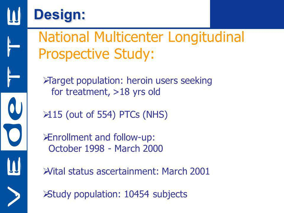 Design:Design: National Multicenter Longitudinal Prospective Study: Target population: heroin users seeking for treatment, >18 yrs old 115 (out of 554