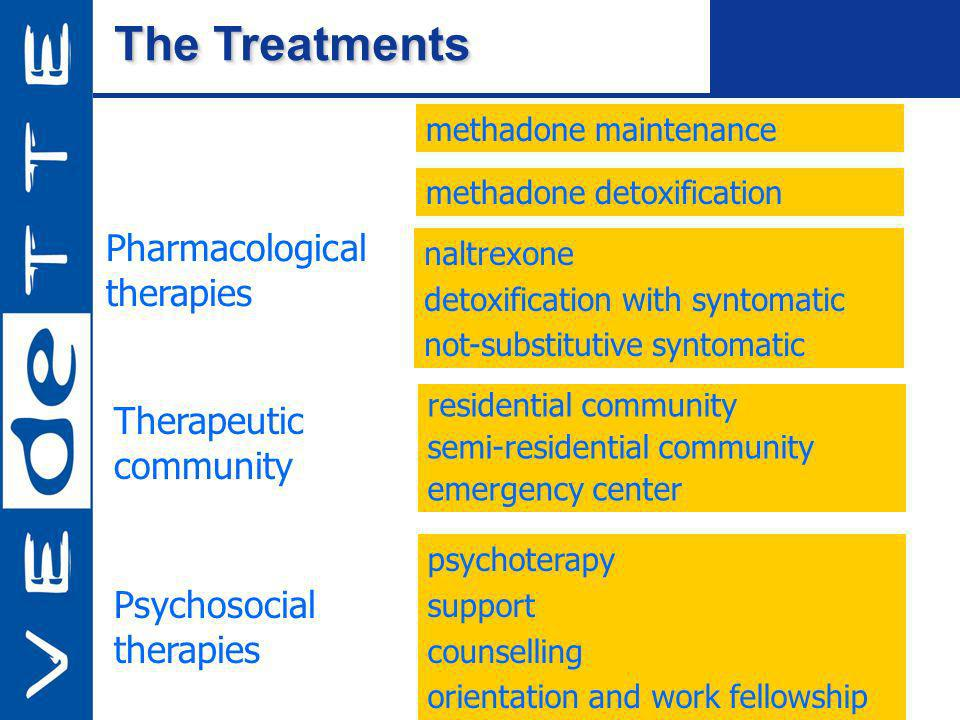 The Treatments Pharmacological therapies residential community semi-residential community emergency center Therapeutic community psychoterapy support counselling orientation and work fellowship Psychosocial therapies methadone detoxification naltrexone detoxification with syntomatic not-substitutive syntomatic methadone maintenance