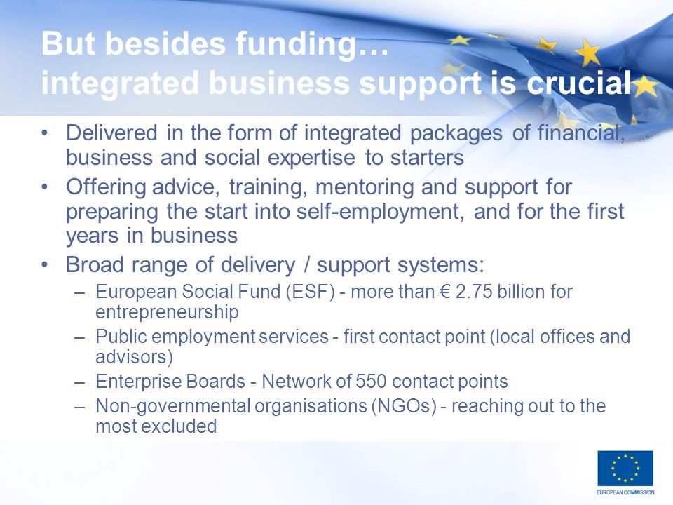 But besides funding… integrated business support is crucial Delivered in the form of integrated packages of financial, business and social expertise to starters Offering advice, training, mentoring and support for preparing the start into self-employment, and for the first years in business Broad range of delivery / support systems: –European Social Fund (ESF) - more than 2.75 billion for entrepreneurship –Public employment services - first contact point (local offices and advisors) –Enterprise Boards - Network of 550 contact points –Non-governmental organisations (NGOs) - reaching out to the most excluded