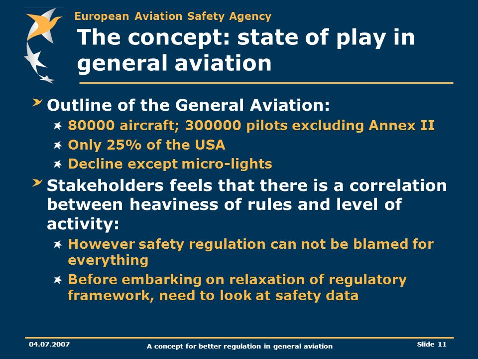 European Aviation Safety Agency 04.07.2007 A concept for better regulation in general aviation Slide 11 The concept: state of play in general aviation