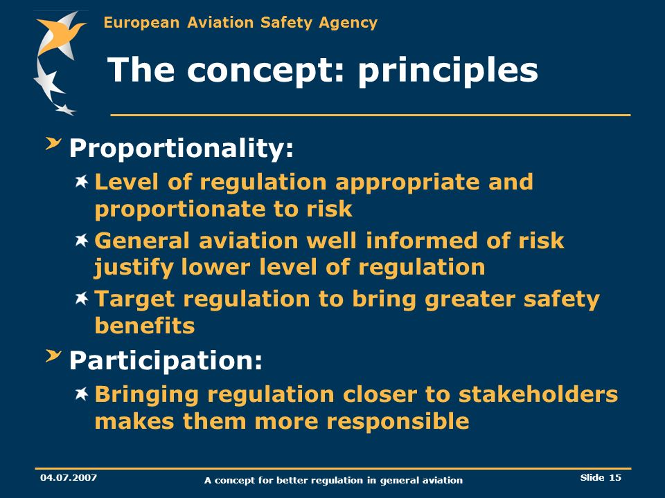 European Aviation Safety Agency 04.07.2007 A concept for better regulation in general aviation Slide 15 The concept: principles Proportionality: Level