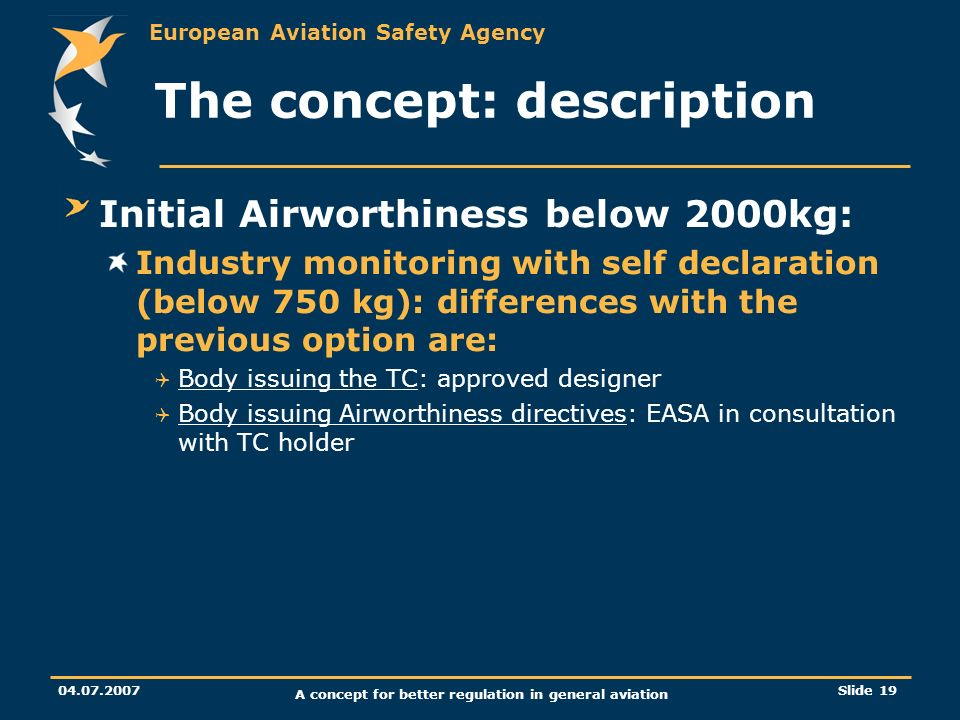 European Aviation Safety Agency 04.07.2007 A concept for better regulation in general aviation Slide 19 The concept: description Initial Airworthiness