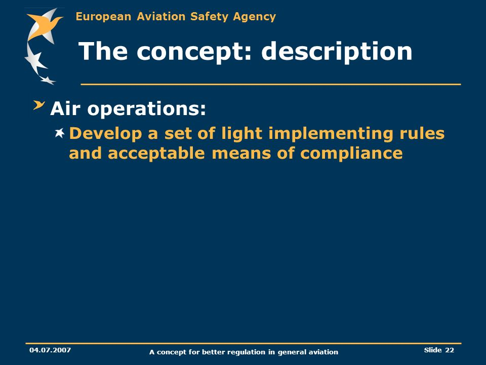 European Aviation Safety Agency 04.07.2007 A concept for better regulation in general aviation Slide 22 The concept: description Air operations: Devel