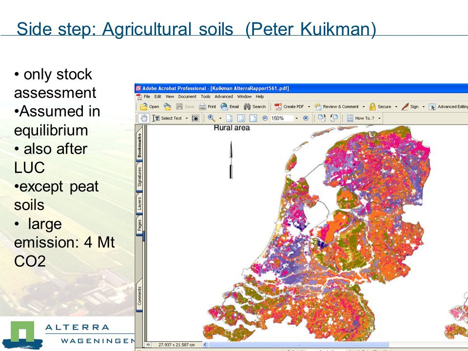 only stock assessment Assumed in equilibrium also after LUC except peat soils large emission: 4 Mt CO2 Side step: Agricultural soils (Peter Kuikman)