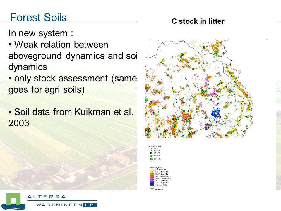 In new system : Weak relation between aboveground dynamics and soil dynamics only stock assessment (same goes for agri soils) Soil data from Kuikman et al.