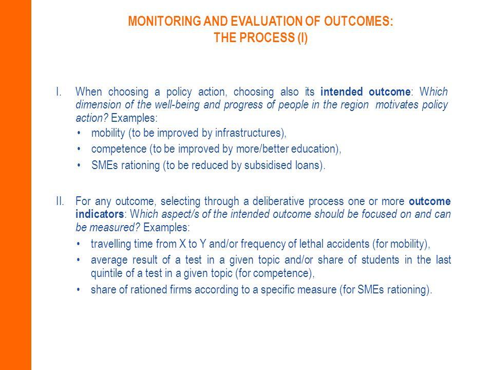 III.For any outcome indicator, establishing a baseline (i.e.