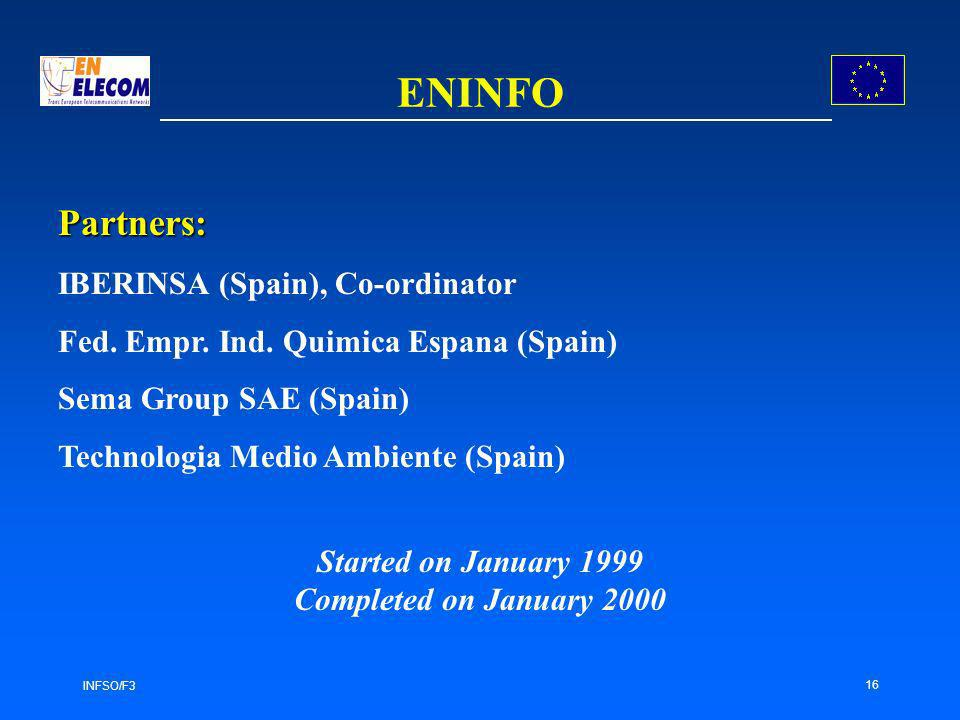 INFSO/F3 16 ENINFO Partners: IBERINSA (Spain), Co-ordinator Fed. Empr. Ind. Quimica Espana (Spain) Sema Group SAE (Spain) Technologia Medio Ambiente (