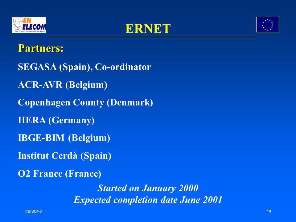 INFSO/F3 18 ERNET Partners: SEGASA (Spain), Co-ordinator ACR-AVR (Belgium) Copenhagen County (Denmark) HERA (Germany) IBGE-BIM (Belgium) Institut Cerdà (Spain) O2 France (France) Started on January 2000 Expected completion date June 2001