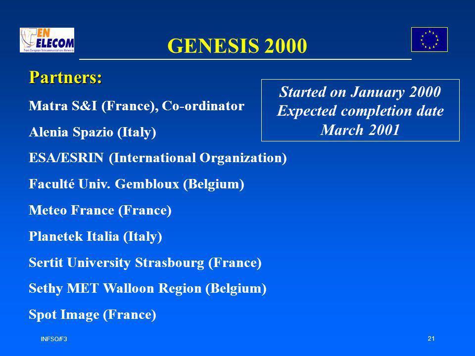 INFSO/F3 21 GENESIS 2000 Partners: Matra S&I (France), Co-ordinator Alenia Spazio (Italy) ESA/ESRIN (International Organization) Faculté Univ.