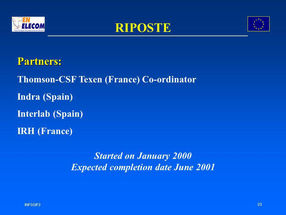 INFSO/F3 23 RIPOSTE Partners: Thomson-CSF Texen (France) Co-ordinator Indra (Spain) Interlab (Spain) IRH (France) Started on January 2000 Expected completion date June 2001