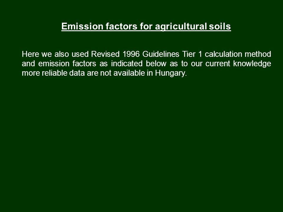 Emission factors for agricultural soils Here we also used Revised 1996 Guidelines Tier 1 calculation method and emission factors as indicated below as