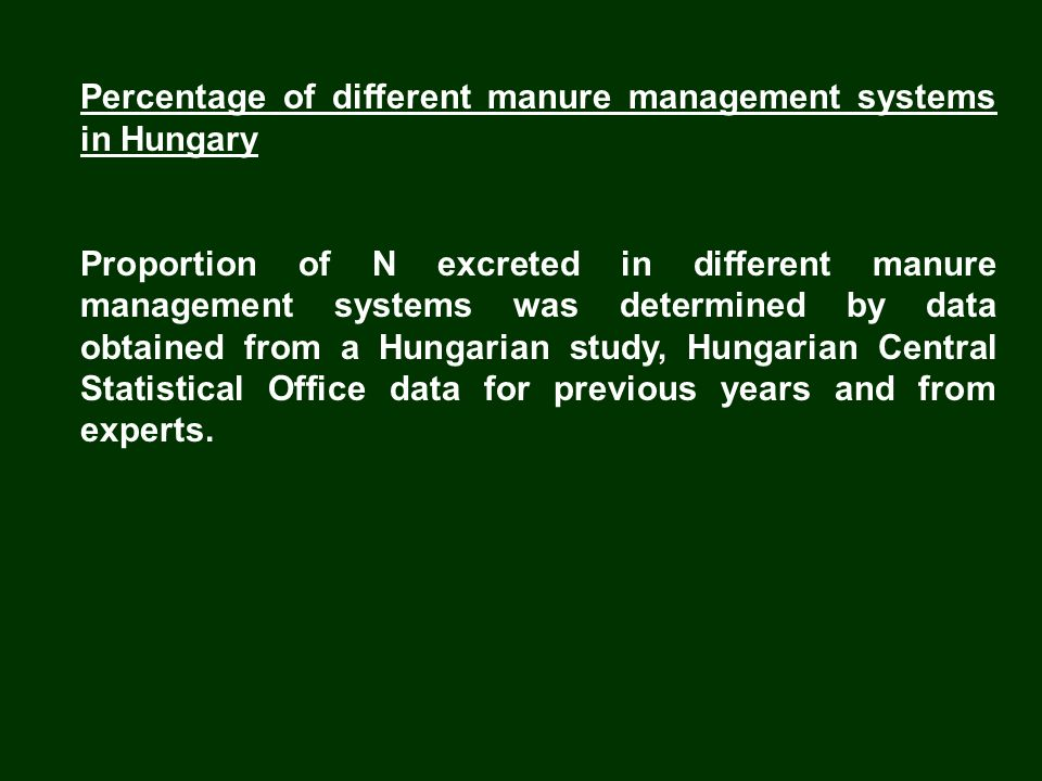 Percentage of different manure management systems in Hungary Proportion of N excreted in different manure management systems was determined by data ob