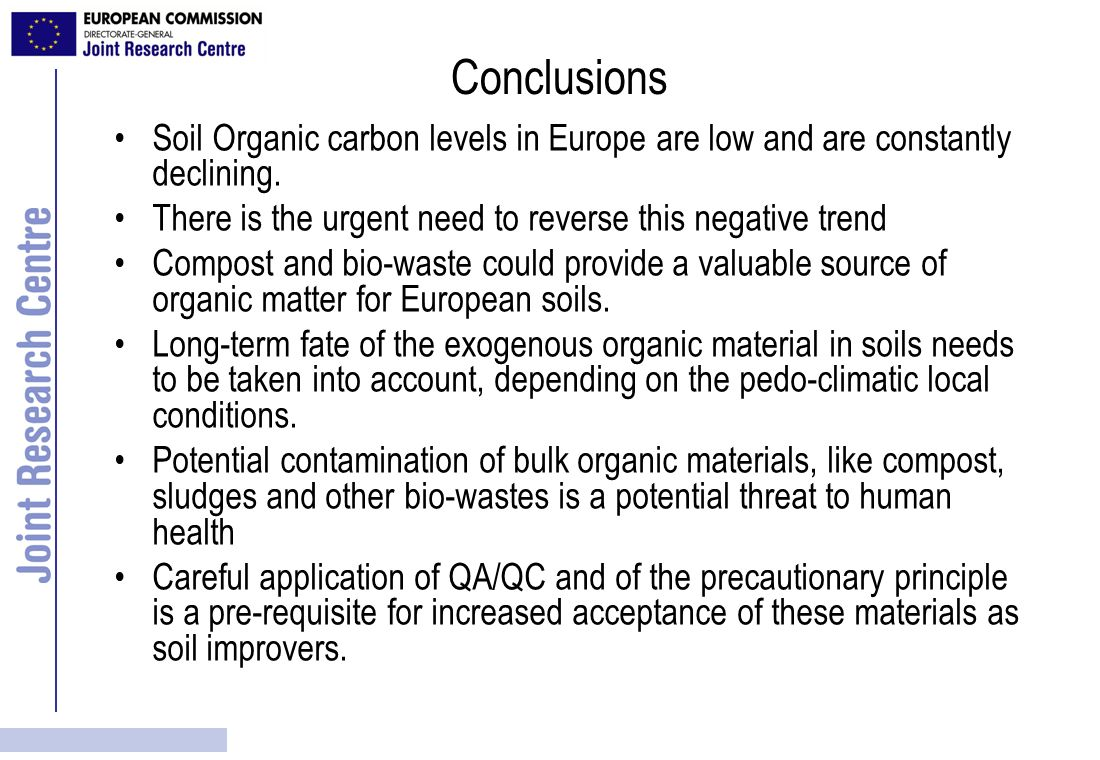 Conclusions Soil Organic carbon levels in Europe are low and are constantly declining. There is the urgent need to reverse this negative trend Compost