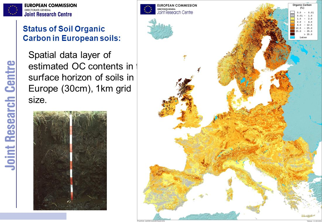 Spatial data layer of estimated OC contents in the surface horizon of soils in Europe (30cm), 1km grid size. Status of Soil Organic Carbon in European