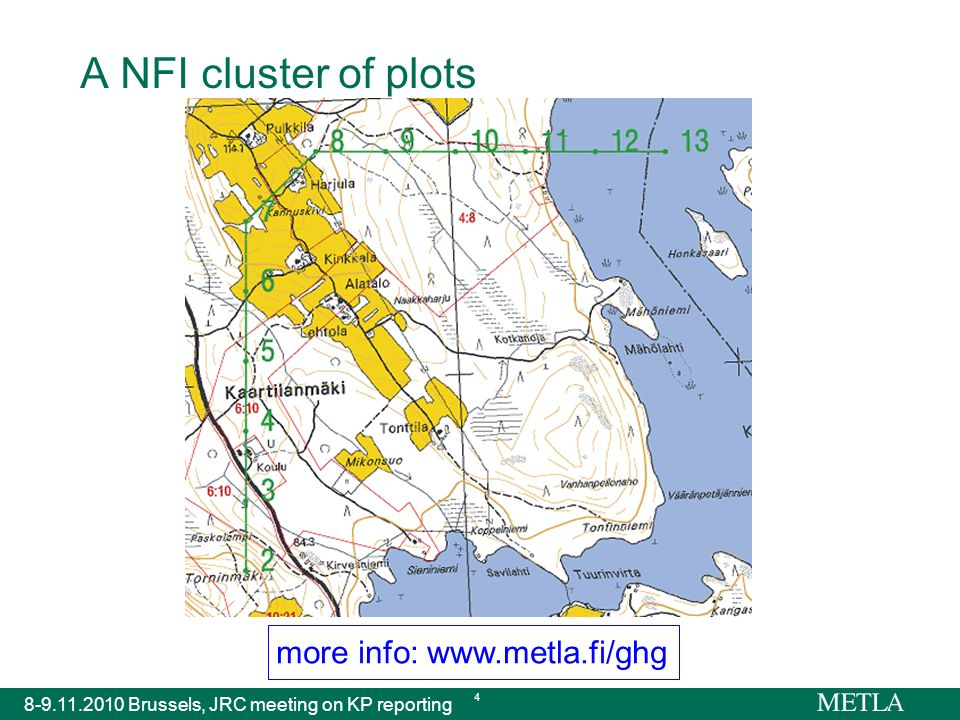more info: www.metla.fi/ghg 8-9.11.2010 Brussels, JRC meeting on KP reporting 4 A NFI cluster of plots
