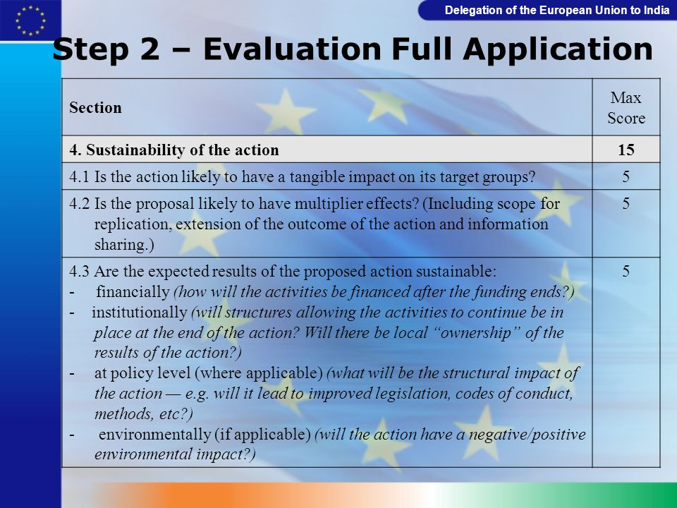 Delegation of the European Union to India Step 2 – Evaluation Full Application Section Max Score 4. Sustainability of the action15 4.1 Is the action l