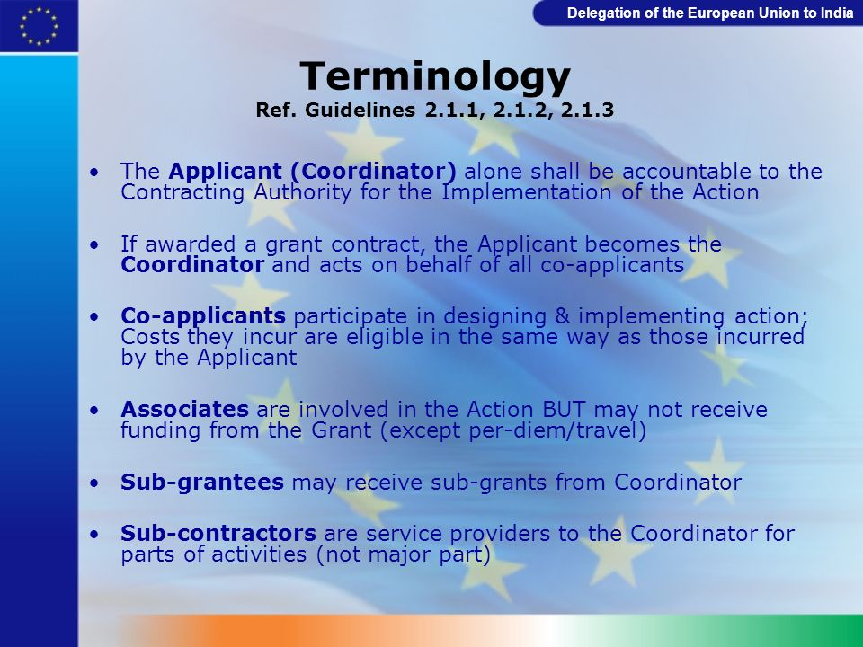 Delegation of the European Union to India Full Application - format Submit Part B of Grant Application Form: Description of the action Logical Framework Budget for the action, Justification & Expected sources of funding Experience of similar actions Description of the Applicant (3.1) Description of the Co-Applicant(s) Signed Mandate by Co-Applicant(s) Description of the Associates Signed Declaration by the Applicant Checklist