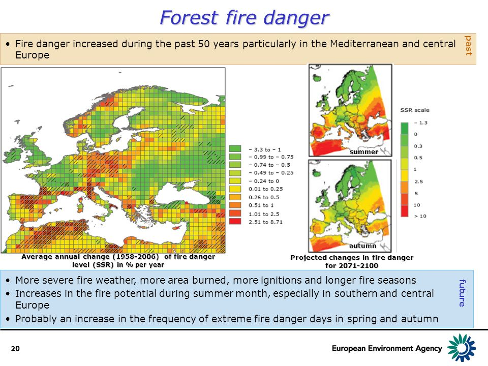 20 Forest fire danger More severe fire weather, more area burned, more ignitions and longer fire seasons Increases in the fire potential during summer month, especially in southern and central Europe Probably an increase in the frequency of extreme fire danger days in spring and autumn Fire danger increased during the past 50 years particularly in the Mediterranean and central Europe past future Projected changes in fire danger for 2071-2100 Average annual change (1958-2006) of fire danger level (SSR) in % per year autumn summer