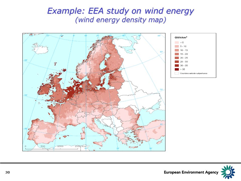 30 Example: EEA study on wind energy (wind energy density map)