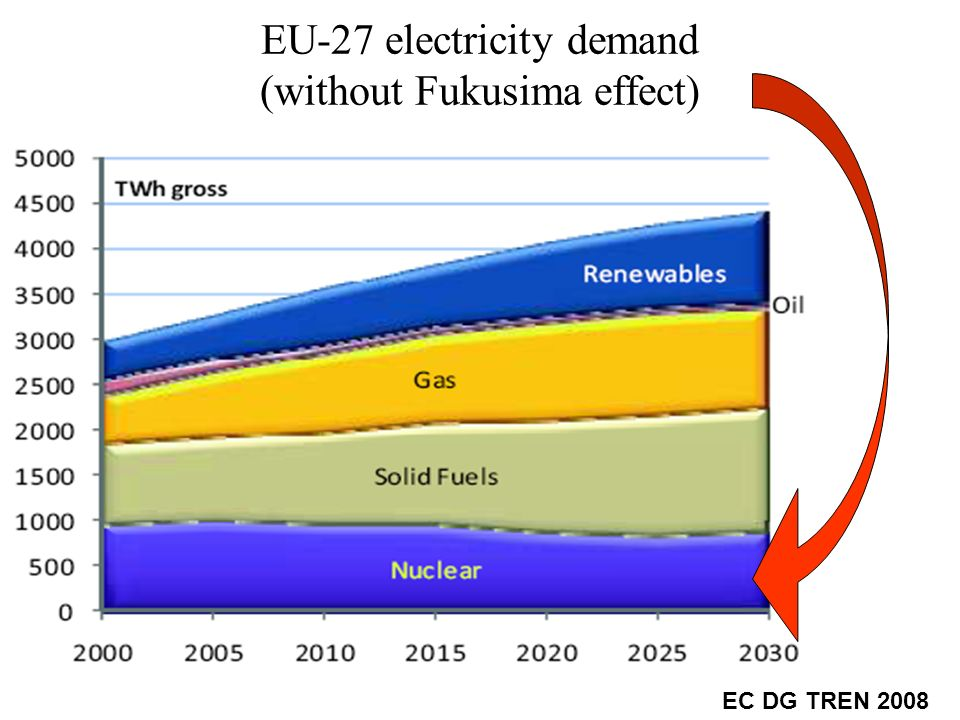 EU-27 electricity demand (without Fukusima effect) EC DG TREN 2008