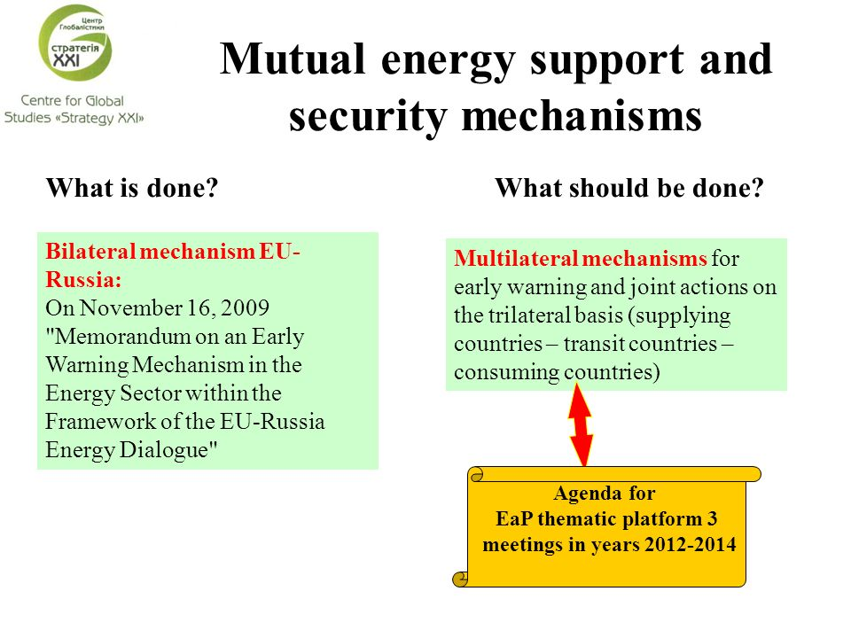Mutual energy support and security mechanisms What should be done What is done.