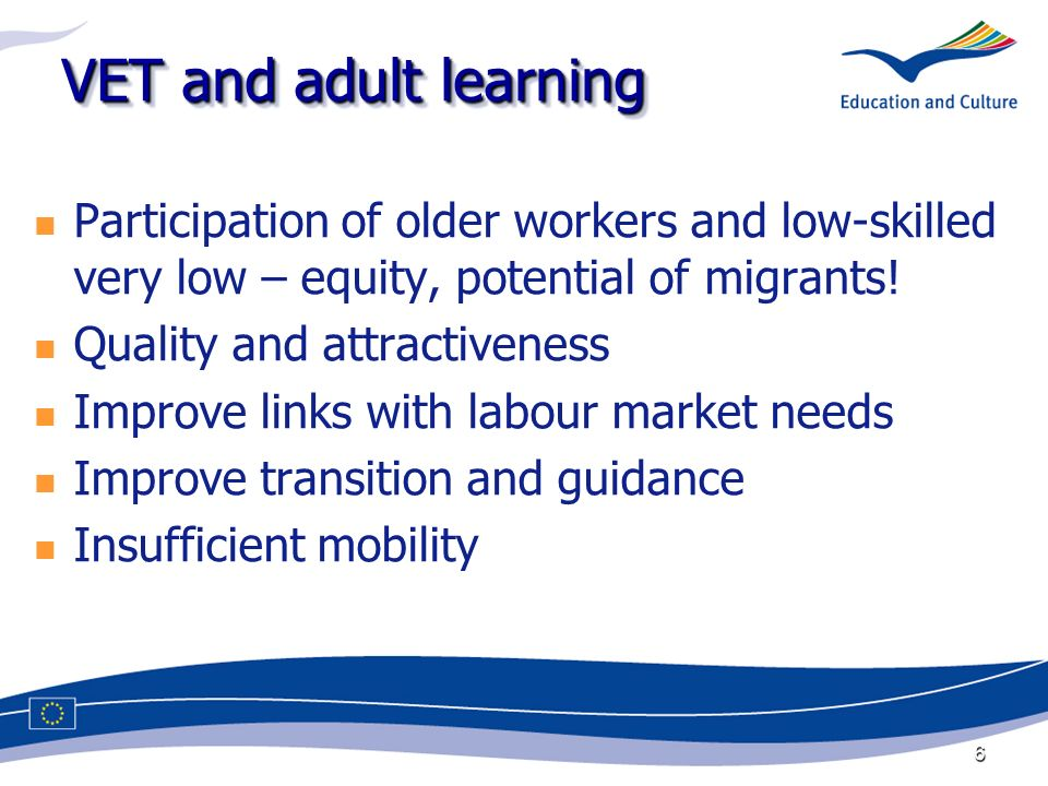 6 VET and adult learning Participation of older workers and low-skilled very low – equity, potential of migrants.