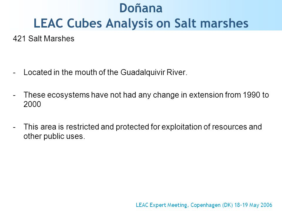 Doñana LEAC Cubes Analysis on Salt marshes 421 Salt Marshes -Located in the mouth of the Guadalquivir River. -These ecosystems have not had any change