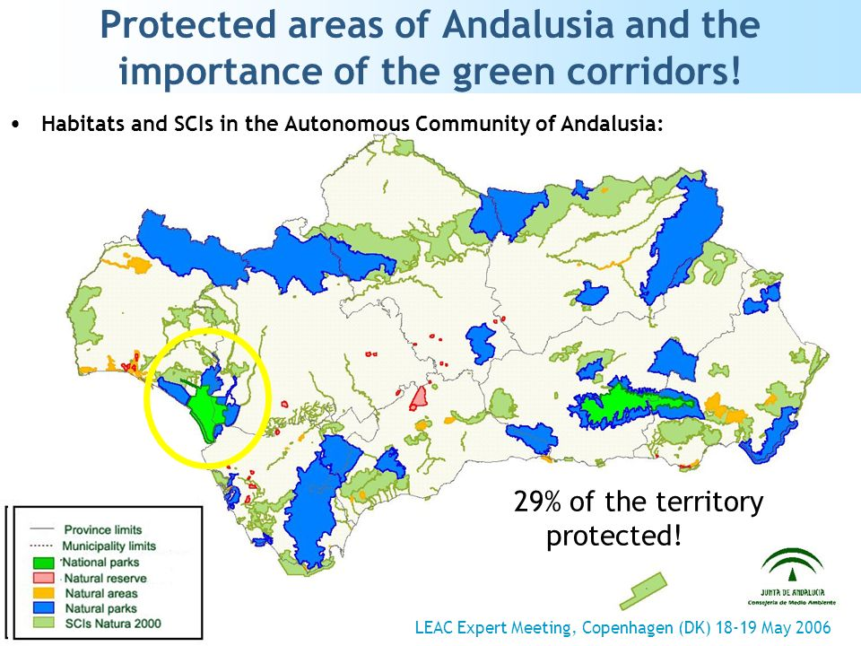 Protected areas of Andalusia and the importance of the green corridors! 29% of the territory protected! Habitats and SCIs in the Autonomous Community