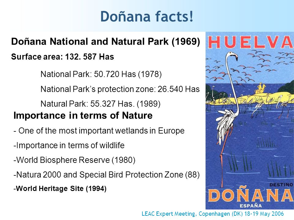 Doñana facts. Doñana National and Natural Park (1969) Surface area: 132.