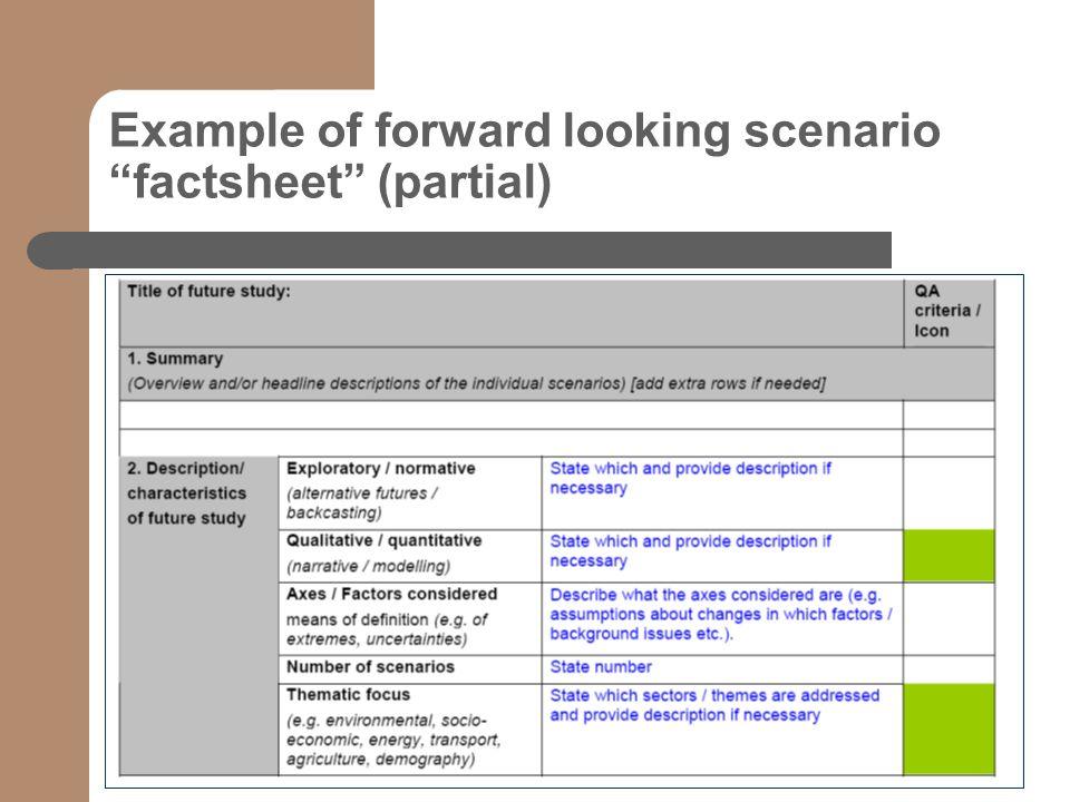 Example of forward looking scenario factsheet (partial) text