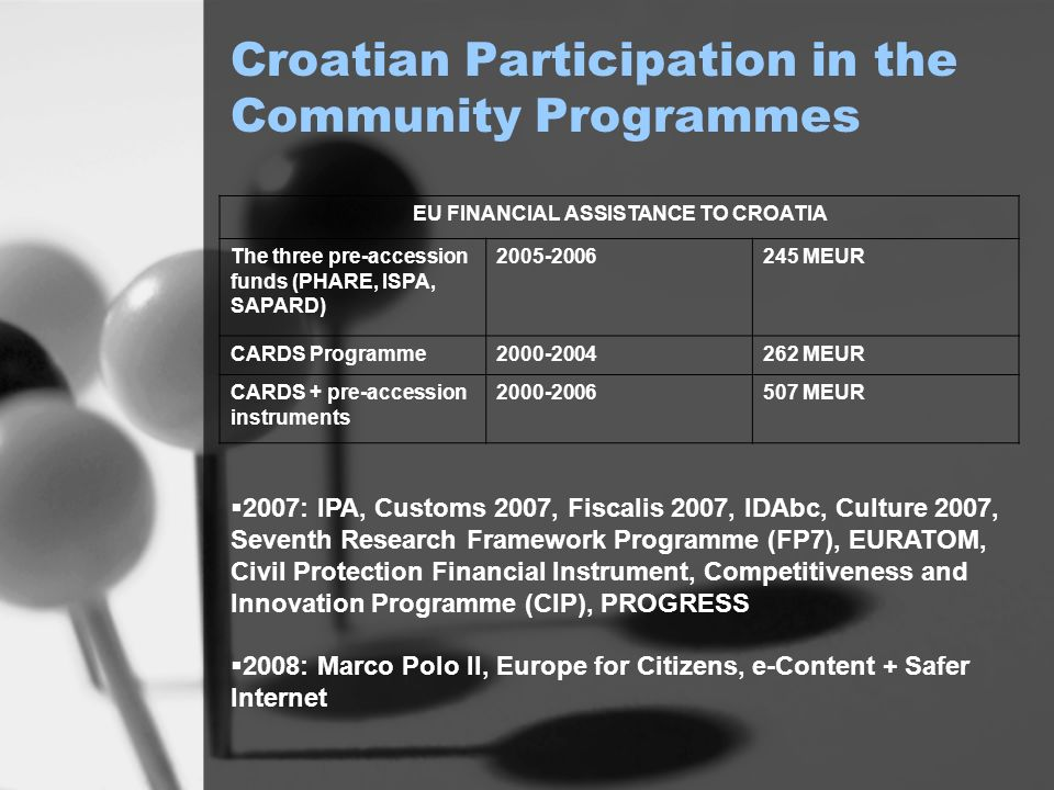 Croatian Participation in the Community Programmes EU FINANCIAL ASSISTANCE TO CROATIA The three pre-accession funds (PHARE, ISPA, SAPARD) 2005-2006245