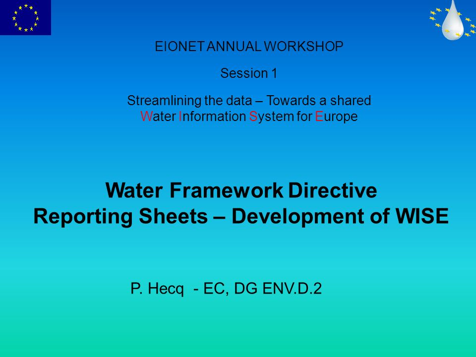 WFD – Common Implementation Strategy Working Group on Reporting Working Group 2D Reporting Steering Group (DG Env, JRC, Eurostat, EEA) Drafting Group Compliance Dg Env Drafting Group State of the Environment/Trends EEA Drafting Group Policy Effectiveness Drafting Group Coherence with other reporting mechanisms Drafting Group Access to information for the public Sub Group GIS Sub Group WISE Dev