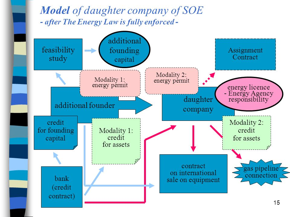15 Model of daughter company of SOE - after The Energy Law is fully enforced - additional founder daughter company bank (credit contract) feasibility study Assignment Contract contract on international sale on equipment additional founding capital credit for founding capital Modality 1: credit for assets Modality 2: credit for assets Modality 1: energy permit Modality 2: energy permit energy licence - Energy Agency responsibility gas pipeline connection