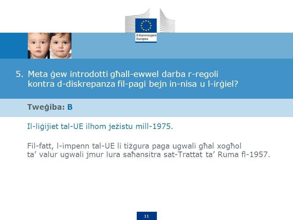 11 5.Meta ġew introdotti għall-ewwel darba r-regoli kontra d-diskrepanza fil-pagi bejn in-nisa u l-irġiel.