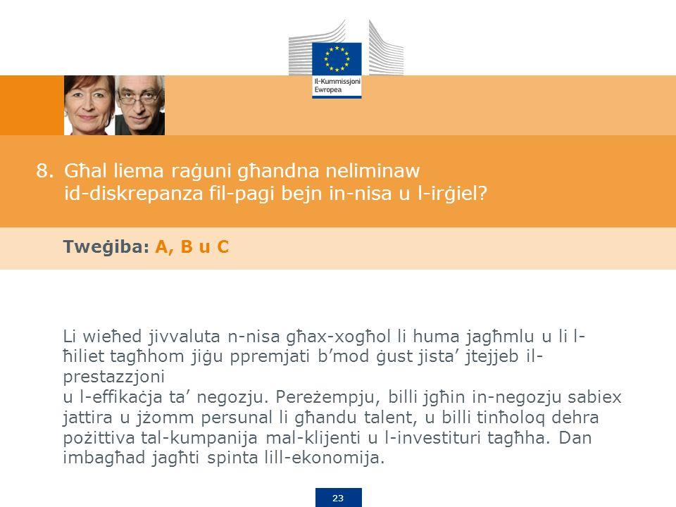 23 8.Għal liema raġuni għandna neliminaw id-diskrepanza fil-pagi bejn in-nisa u l-irġiel.