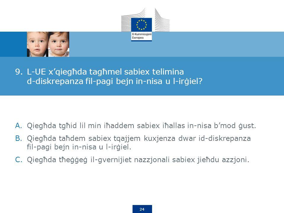 24 9.L-UE xqiegħda tagħmel sabiex telimina d-diskrepanza fil-pagi bejn in-nisa u l-irġiel.