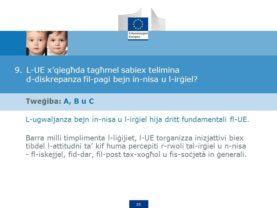 25 9.L-UE xqiegħda tagħmel sabiex telimina d-diskrepanza fil-pagi bejn in-nisa u l-irġiel.