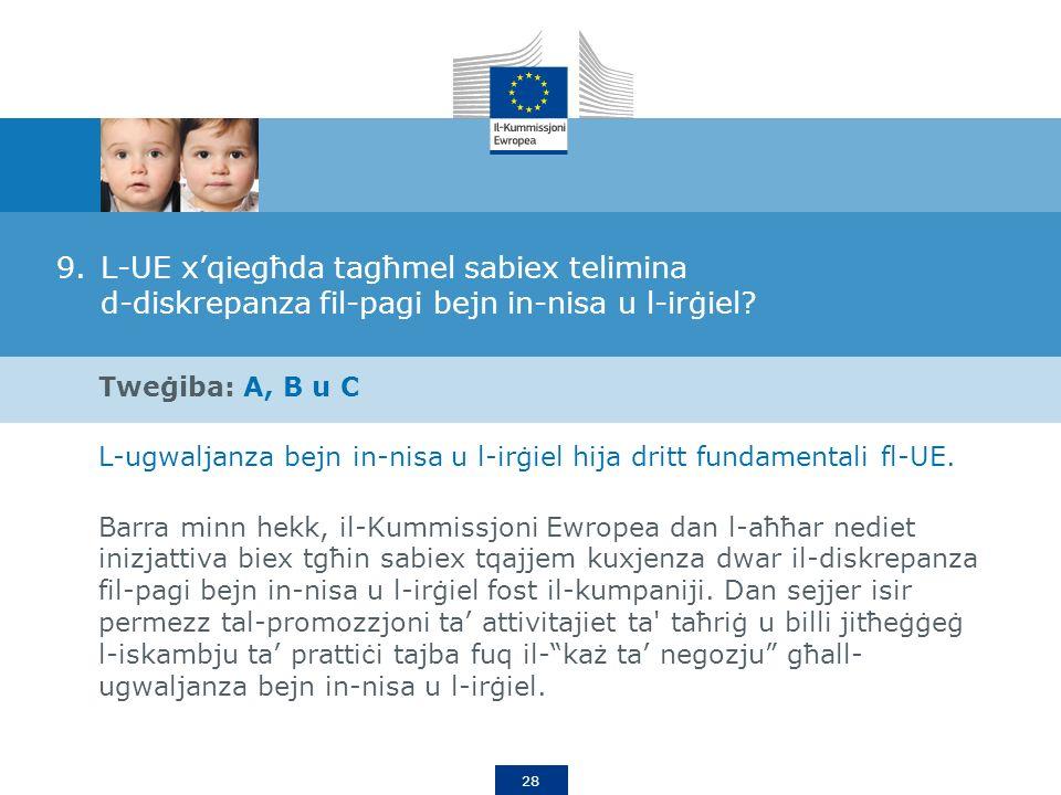 28 9.L-UE xqiegħda tagħmel sabiex telimina d-diskrepanza fil-pagi bejn in-nisa u l-irġiel.
