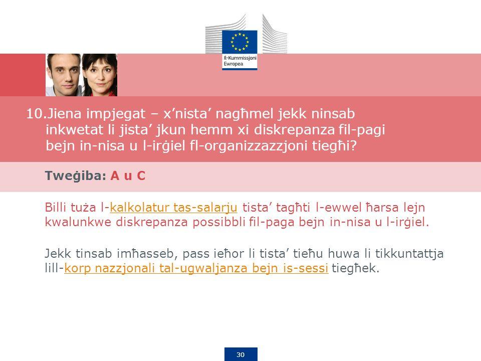 30 10.Jiena impjegat – xnista nagħmel jekk ninsab inkwetat li jista jkun hemm xi diskrepanza fil-pagi bejn in-nisa u l-irġiel fl-organizzazzjoni tiegħi.