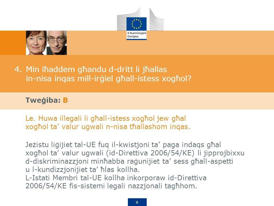 9 4.Min iħaddem għandu d-dritt li jħallas in-nisa inqas mill-irġiel għall-istess xogħol.