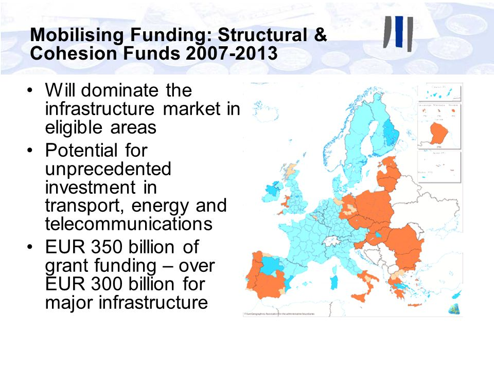 Will dominate the infrastructure market in eligible areas Potential for unprecedented investment in transport, energy and telecommunications EUR 350 b