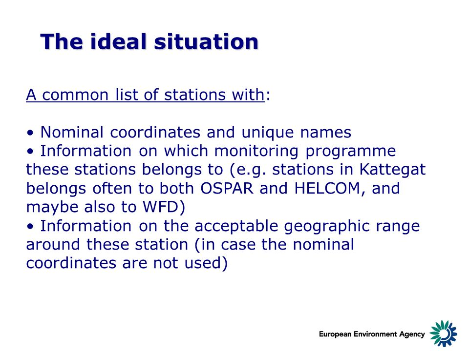 The ideal situation A common list of stations with: Nominal coordinates and unique names Information on which monitoring programme these stations belo