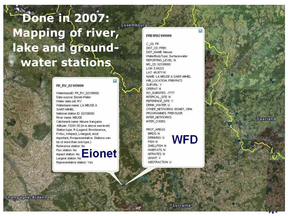 Done in 2007: Mapping of river, lake and ground- water stations
