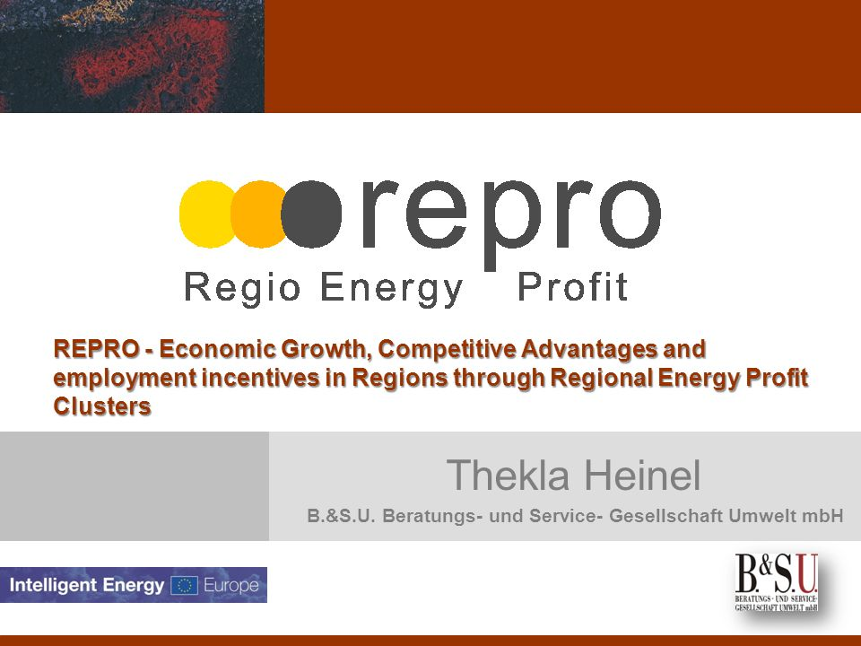 Objektives of the project To optimise the existing cluster management structures and improving the implementation of sustainable energy systems within regions To gain best regional economic benefits in terms of employment, growth and innovation from the introduction of sustainable energy systems at regional level.