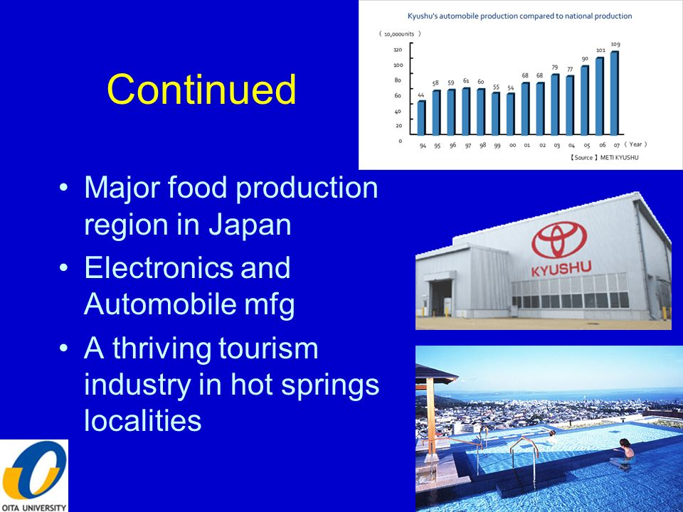 Continued Major food production region in Japan Electronics and Automobile mfg A thriving tourism industry in hot springs localities 6